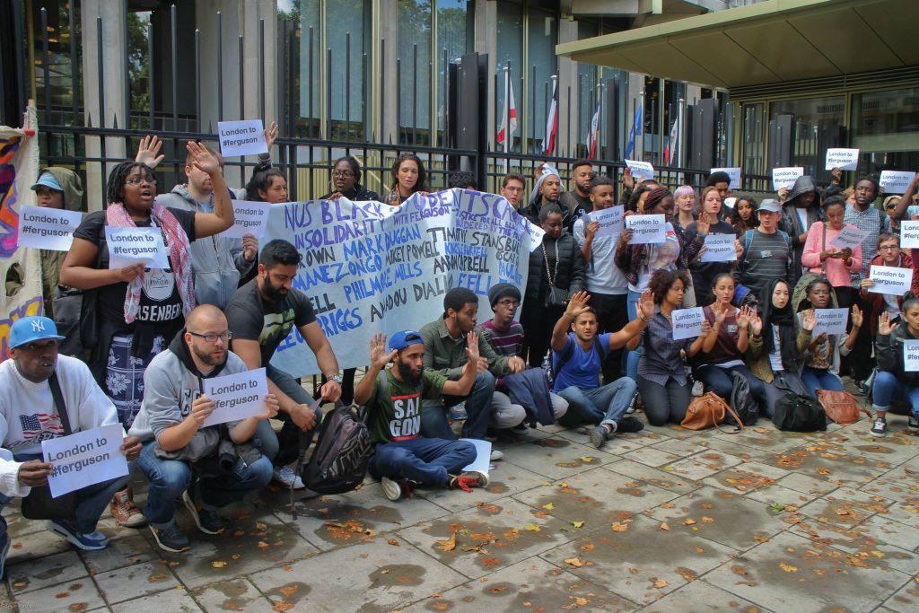 Ferguson protest at London US embassy
