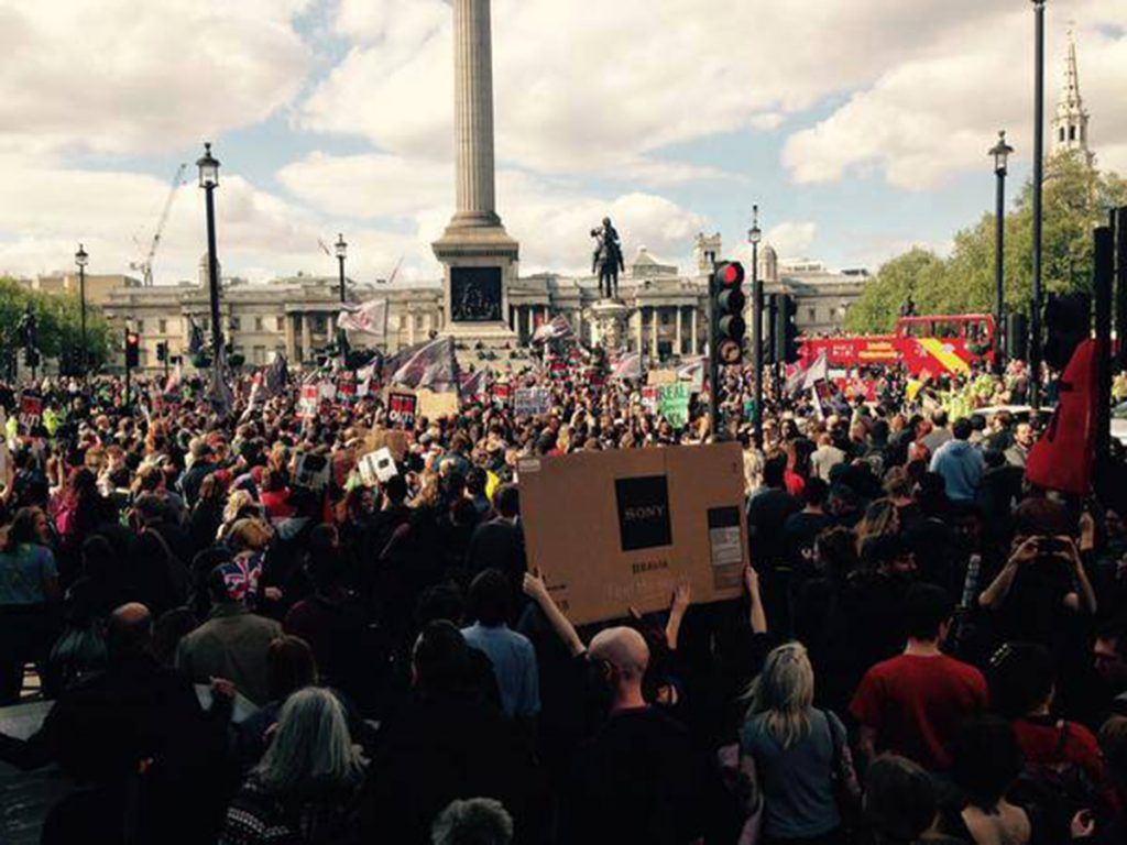 Large crowd at Trafalgar Square
