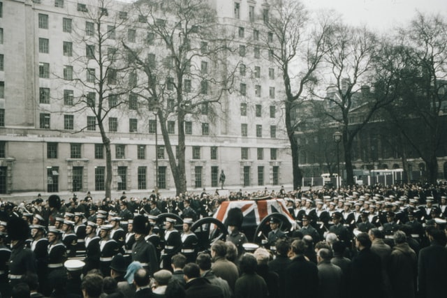 Winston Churchills funeral procession in 1965
