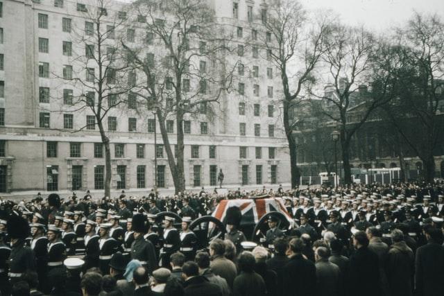 Winston Churchills funeral procession in 1965