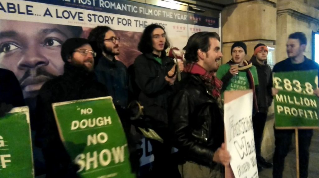 Strikers on the picket line at Hackney Picturehouse