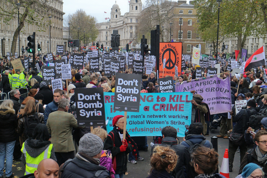 Stop the War protest against US intervention in Syria, 2015 /credit: Steve Eason Flickr
