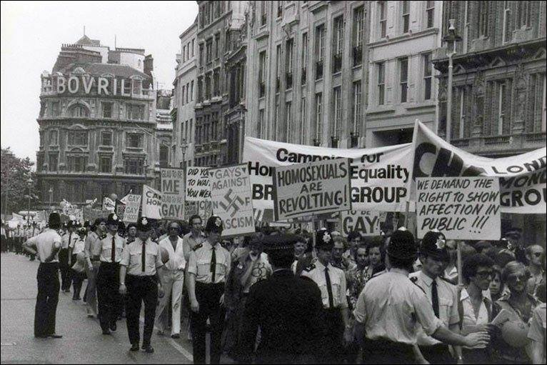 A 1972 Gay Pride march in London. Photo credit: BBC1967 Britain legalisation of homosexuality