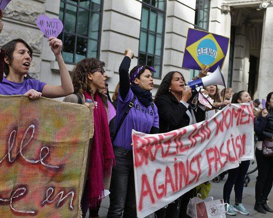 Female anti-fascist protesters