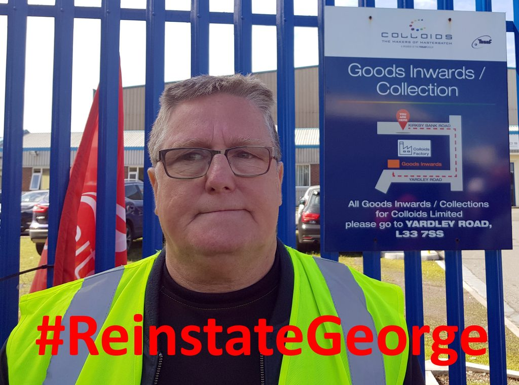 George Gore at Colloids picket with #ReinstateGeorge