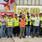 Protesters with Save Our Shipyard banner