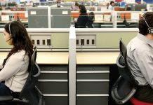 Workers at a call centre in Poland.