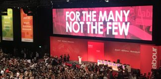 An aerial shot of the stage at the labour party conference in 2019
