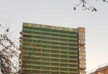 A London tower block featuring large graffiti proclaiming Fuck Boris