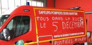 French firefighters on strike