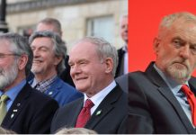 Photos of Gerry Adams, Martin McGuinness and Jeremy Corbyn