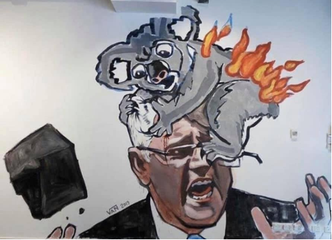 Drawing of Scott Morrison Australian prime minister, with a koala on fire crawling on his head.
