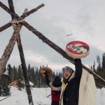 Chief Howihkat (Freda Huson) in ceremony while the RCMP raid the Unist'ot'en camp to enforce the Coastal GasLink injunction
