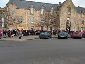 Big crowd outside building