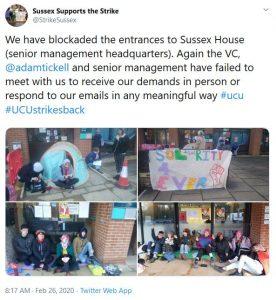 Tweet from @strikesussex with pictures of blockade of senior management headquarters