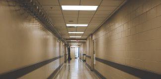 An empty hospital corridor.