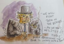 A cartoon of Boris Johnson with a hard hat and a cigar.