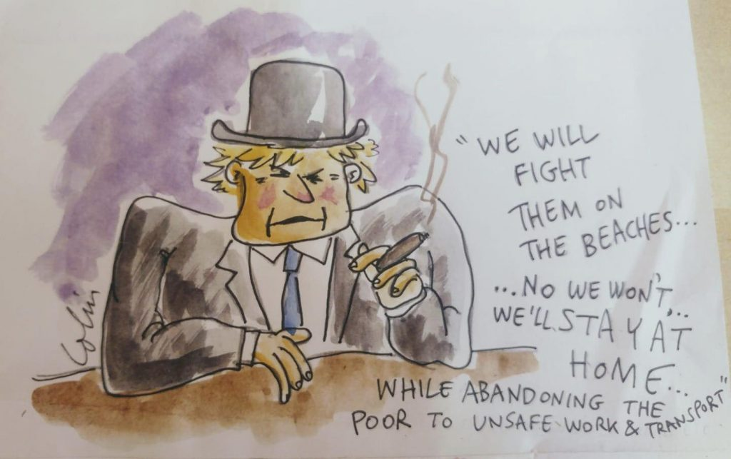 A cartoon of Boris Johnson with a hard hat and a cigar.