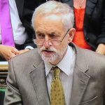 Jeremy Corbyn in the Houses of Parliament, asking a question at Prime Minister's Questions.