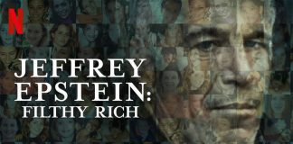 The promotional image of the documentary Epstein: Filthy rich
