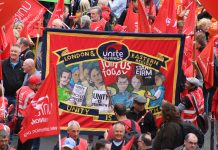 Unite banner on TUC demo