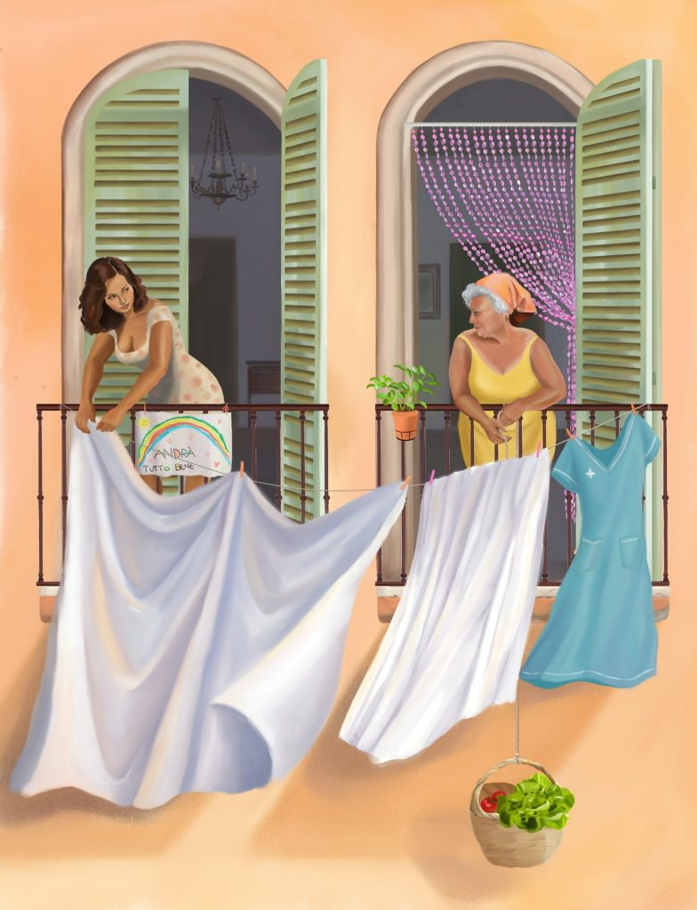 A younger and an older darker skinned woman hang laundry to dry on neighbouring balconies (illustration)