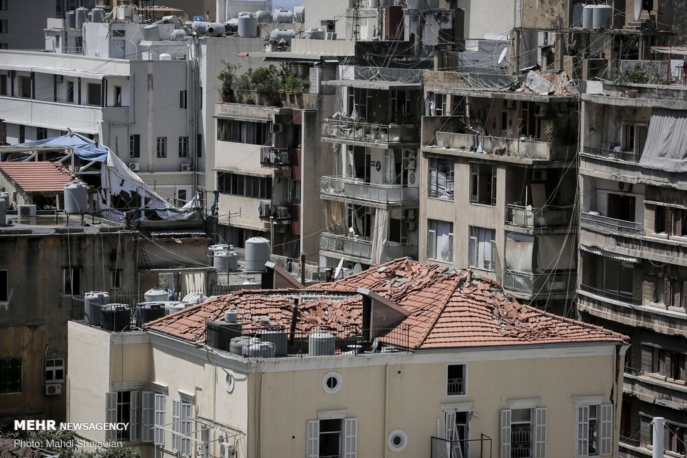 Buildings damaged by the huge explosion in Beirut