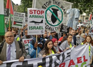 Pro-Palestine protesters in London.