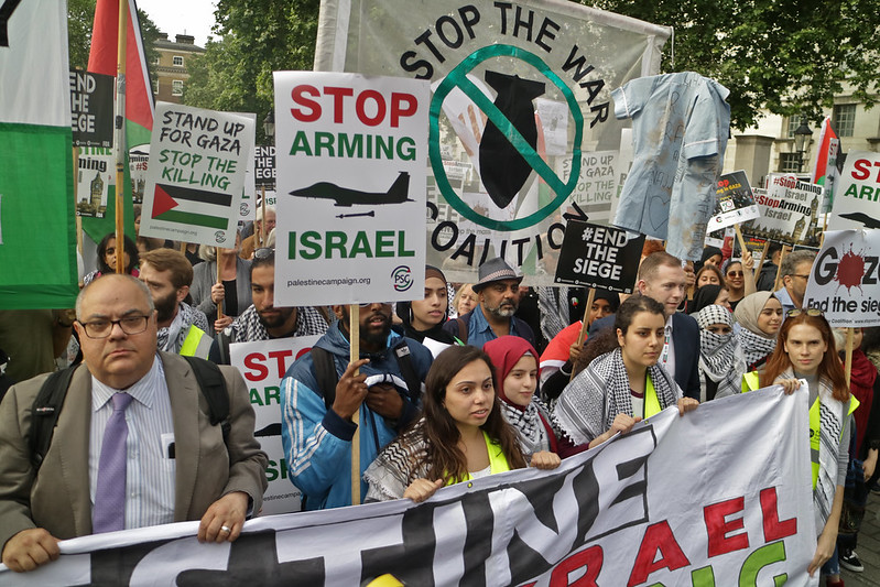 Pro-Palestine protesters in London.