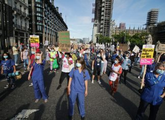 NHS workers demonstrating over pay