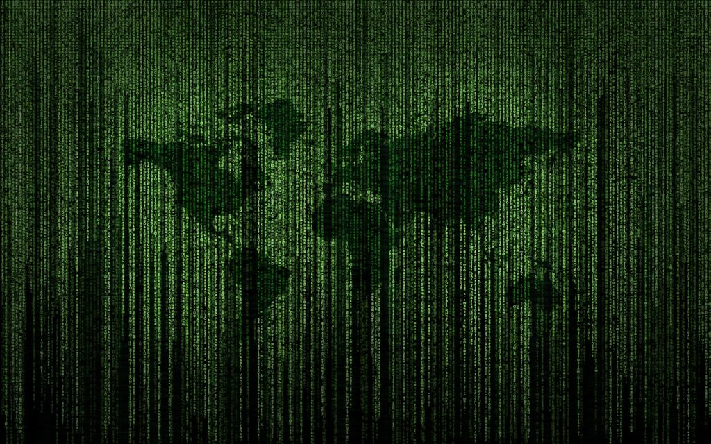 Image: world atlas with green computer code