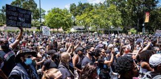 Black Lives Matter demonstrators in Century City, California. Photo: morrisonbrett / WikiCommons Keywords: Biden Trump election US elections presidential anti-racist socialism