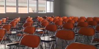 An empty classroom. Keywords: school schools reopening Covid NEU safety safe