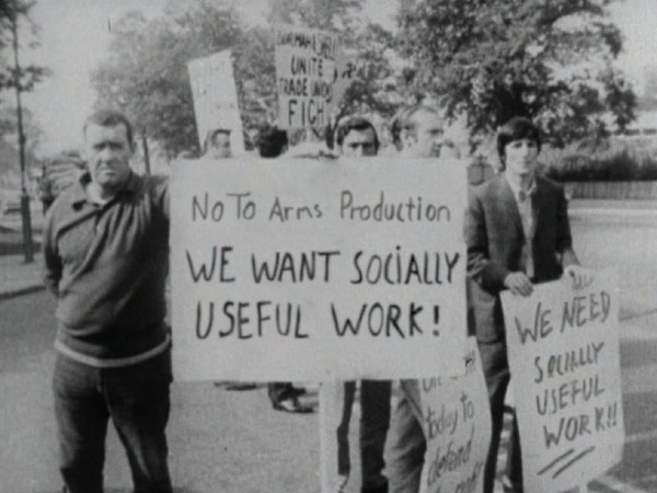 Workers holding placards demanding the implementation of the Lucas Plan. Keywords: technology trade unionism socialism Mike Cooley
