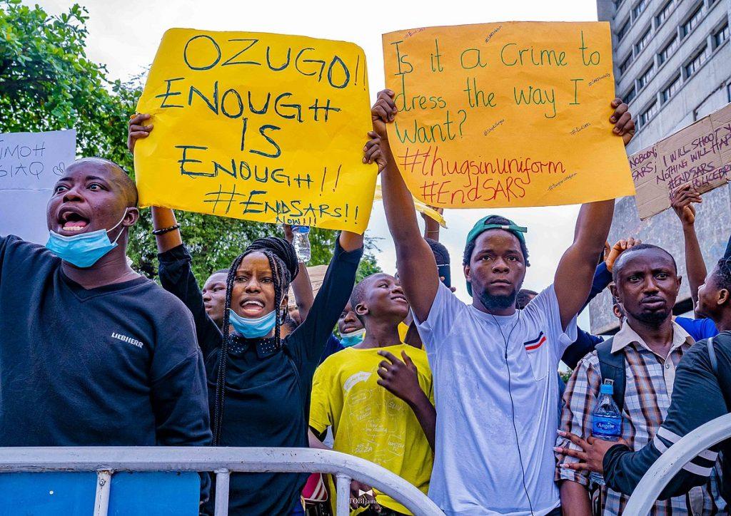 Protesters in Lagos. Keywords: Nigeria EndSARS End SARS #EndSARS police violence state protests