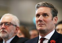 Keir Starmer and Jeremy Corbyn. Keywords: Starmer Corbyn antisemitism anti-Semitism EHRC report suspended suspension