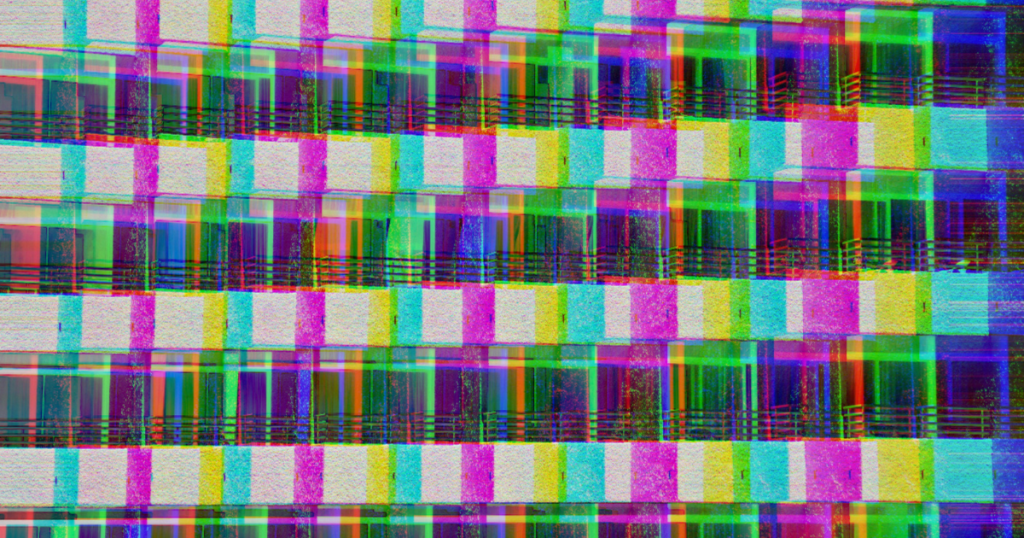 a colour-edited photo of a block of flats