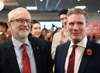 Jeremy Corbyn and Keir Starmer. Keywords: antisemitism anti-semitism Labour Party racist racism