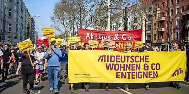 Deutsche Wohnen Enteignen march through Berlin advocating for the disappropriation of the city's largest private landlord.