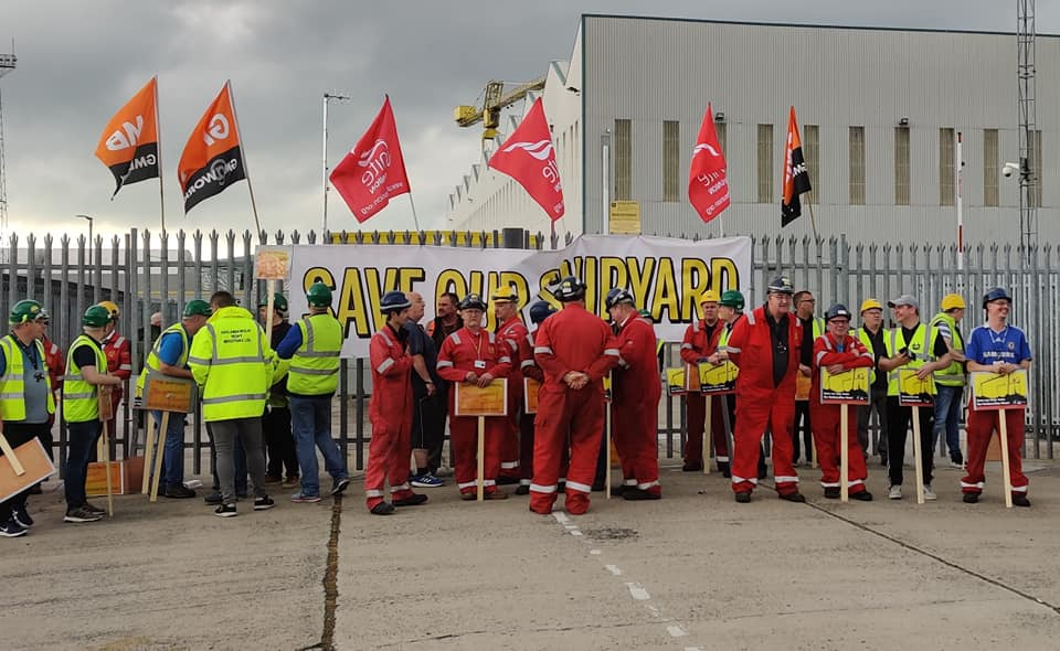 Workers rally to save Harland and Wolff shipyard, 2019 Keywords: workplace organising redundancies Covid job cuts layoffs