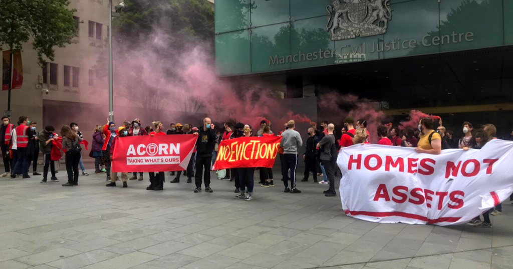 ACORN members protesting outside the Manchester Civil Justice Centre