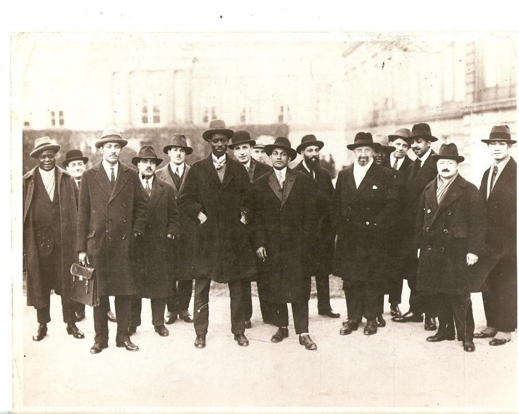 Lamine Senghor with other attendees at the 1927 International Congress against Colonial Oppression and Imperialism in Brussels. He was acting as a delegate for Senegal. Keywords: Lamine Senghor