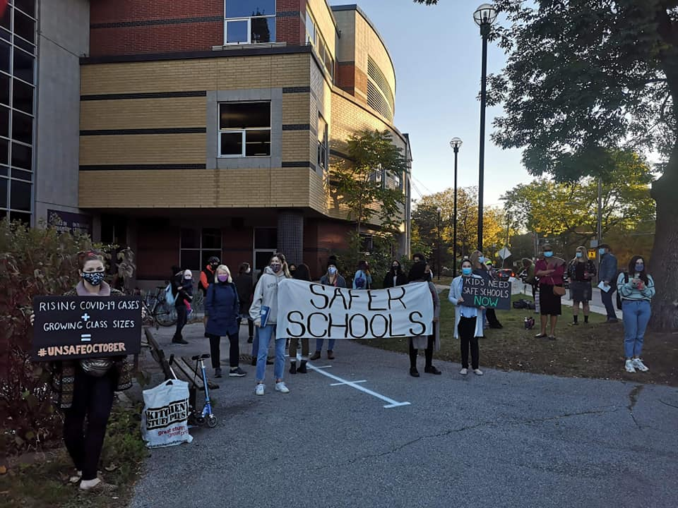 Protesters demanding safer schools. Photo: Parkdale Organize