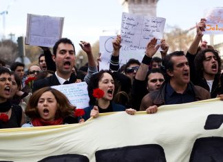 Anti-austerity protesters in Lisbon in March 2011. Keywords: unemployed workers organising unemployment