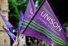 UNISON flags. Keywords: UNISON general secretary election