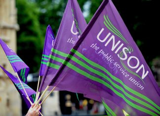UNISON flags. Keywords: UNISON general secretary election