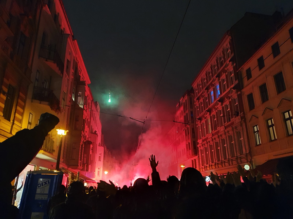 The demonstration in Hackescher Markt, Berlin against the eviction of Liebig34