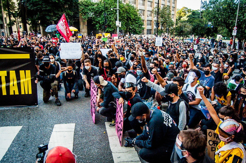 Anti-racist protesters in Belo Horizonte in June. Keywords: Brazil Bolsonaro fascist