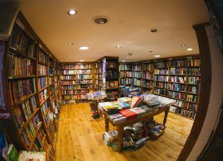 Bookshop interior. Keywords: bookshops trade union organising activism living wage