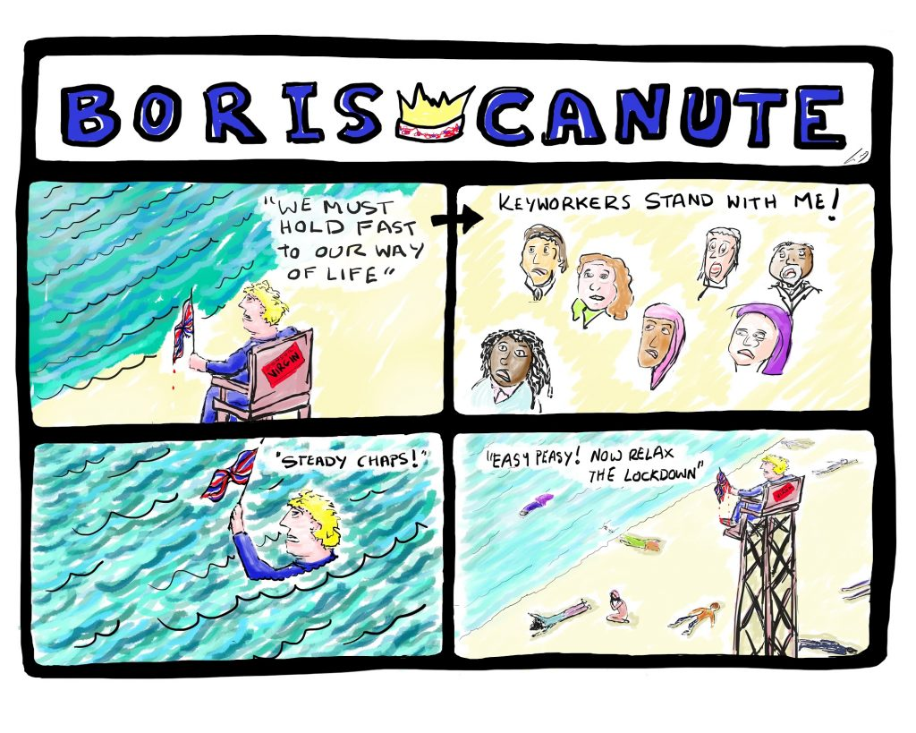 Image is a cartoon with 4 panels and the title 'Boris - Canute'. In the panels, Boris tries to rally the people as the waves come in, sitting atop a high chair. People below him are swept up by the waves while he waves a flag from high up above them.